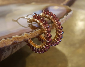 Garnet Earrings January Birthstone Earrings Womens Gift for Her Rose Gold Hoops Beaded Hoop Earrings Garnet Beaded Earrings Garnet Jewelry