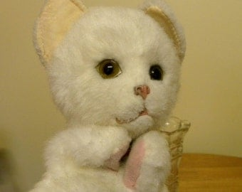 Vintage Puppet - Real Soft Toys Cat - Hand Puppet - White Cat Puppet - Real Soft Toys Cat Hand Puppet