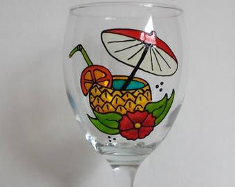 Summer pinnaple cocktail, handpainted wine glass