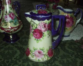 Antique Nippon Cobalt & Hand Painted Roses Chocolate Pot Gold Beading Rare Shape Victorian Antique Ornate Porcelain