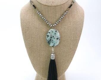 Long Sesame Jasper Tassel Necklace
