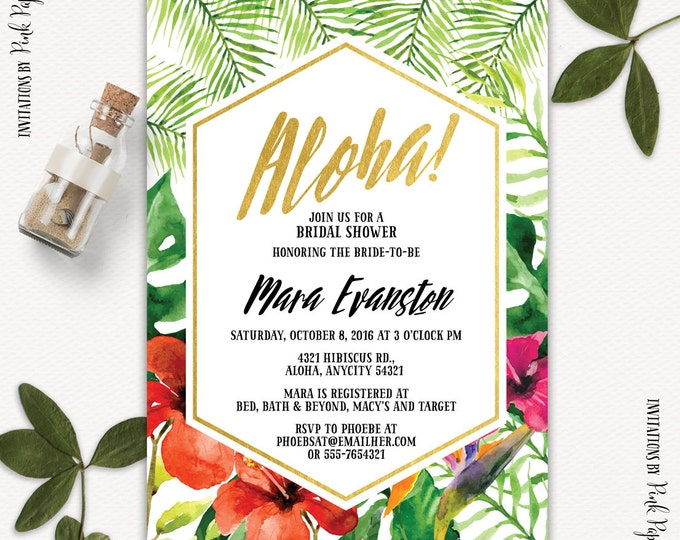 Tropical, Aloha, Hawaiian Bridal Shower Invitation, Bachelorette Invitation, Beach Party, Printable Bridal Shower Invitation