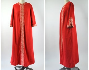 Vintage 1960s Lounge Wear Red Velour Robe with Gold Trim Zip Front Size Medium Red and Gold