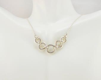 Sterling Silver Fill Graduated Vortex Necklace