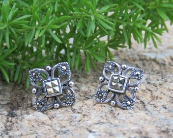Sterling Silver Vintage Square Shape Earrings, 925, Valentines Day Gift, Everyday Wear, For Pierced Ears.