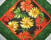 RESERVED FOR CHRIS Floral Table Topper, Gerbera Daisy, Summer, Fall Michael Miller, handmade