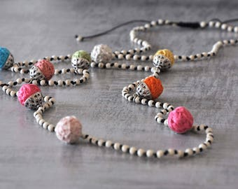 Boho Long Necklace,  Beige Gemstone Necklace,  Textille Beaded Necklace,  Hippie and Gypsy Necklace