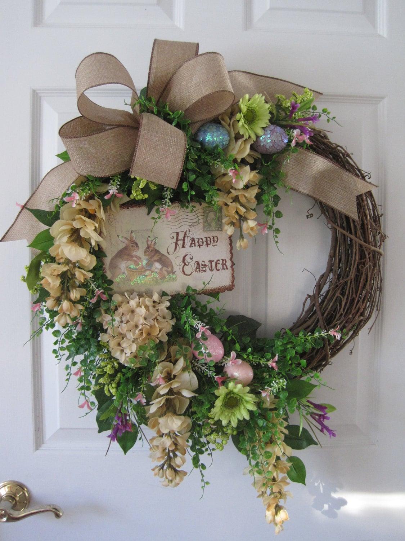 SALE Easter Wreath Front Door Wreath Easter Bunny Pastel
