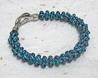 Beaded kumihimo bracelet teal bracelet braided bracelet bangle