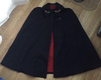 Sexy 1950s 50s 60s Navy Blue Wool Little Red Riding Hood Shrug Stole Wrap NURSES Cape