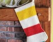 Hudson's Bay Blanket Christmas Stocking - Yellow Top Stripe - Point Blanket