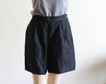 "Vintage 90's Black Linen Shorts / Loose Shorts / Modern and Minimal W 27"""