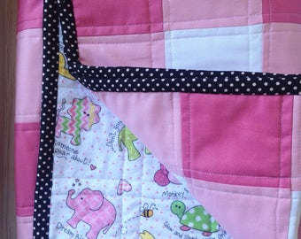 Pink Gingham Baby Girl Quilt. Feminine, Classic and Cozy.