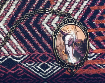 Illustrated Custom Pet Portrait - Grand Budapest Hotel Theme -  M. Gustave Lobby Boy Zero  - Vintage Style Wearable Art Necklace