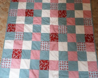 Baby Red Tractors Quilt and Pillowcase