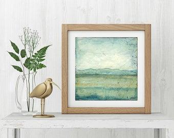 "Landscape Art Print: Abstract Art Contemporary Art, Mixed Media, aqua, blue green, mountain print, 8""x8"" or 12""x12"" print, ""Striations III"""