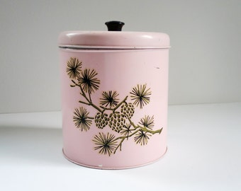 Vintage Pink Storage Containers, Vintage Pink Tin Canisters,  Decorative Pink Kitchen Tin, Pastel Pink Storage Tin with Pine Cones