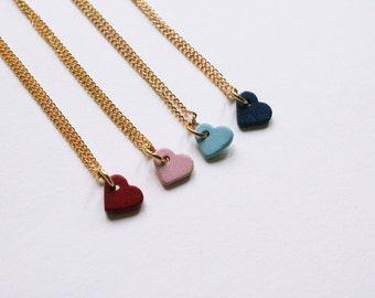 tiny white heart -necklace (ceramic heart charm and gold plated chain minimal discreet neckpiece)