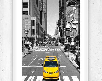 NYC Photography, Broadway, 7th Ave New York City, Yellow Taxi Cab and Black & White Large Wall Art