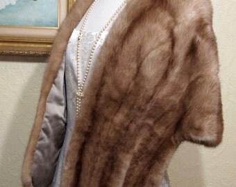 sz. 8 AUTUMN HAZE Mink Fur Stole Cape Wrap Coat Jacket