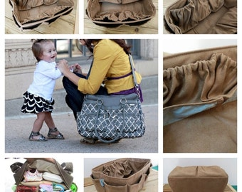 Diaper Bag Organizer insert For LV Neverfull GM 30x17cm / Faux Suede light brown / Made to order