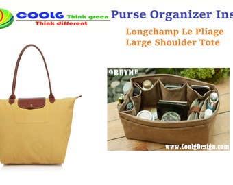 Purse Organizer Insert for Longchamp Le Pliage Large Bag / Made to order / faux suede light brown