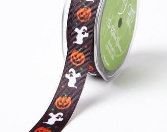 May Arts Ribbon - 3/4 Inch Cartoon Halloween Ribbon Black Pumpkin/Ghost - Polyester