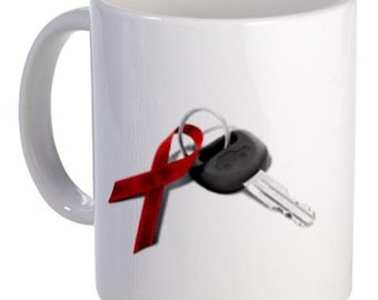 Red Ribbon Key December Drunk Driving Prevention Don't Drink and Drive 11oz Ceramic Coffee Cup Mug