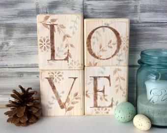 LOVE Blocks, wood letters, hand made, one of a kind, Farm house decor