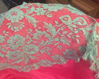 Antique lace scarf long triangular blue soft flaw see details