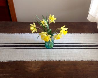 Burlap Table Runner Black Striped Tablerunner 12-14 x 96 or 108  Choice of Colors by sweet janes plan