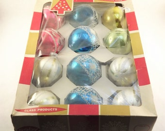 Boxed Christmas Tree Balls, Vintage Large Ornaments, Set of 12 Glitter Glass Ornaments, DBGM Made in West Germany and Coby USA