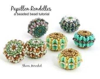 Beaded Bead tutorial by Sharri Moroshok - Papillon Rondelles