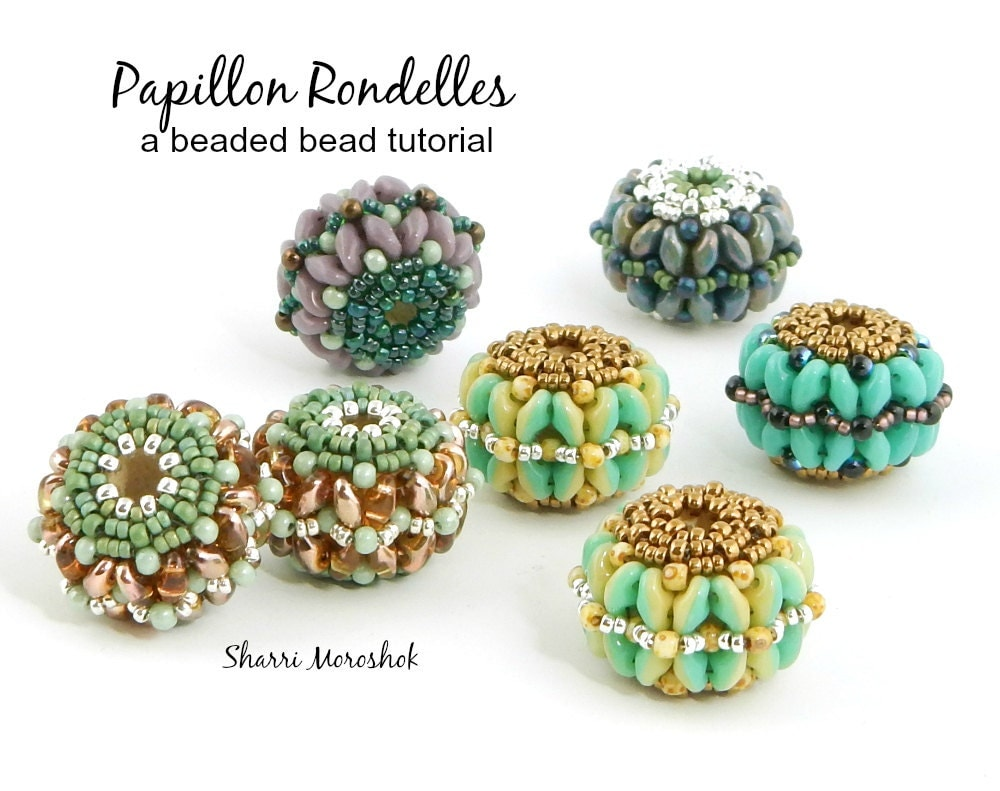 Beaded bead tutorial by sharri moroshok papillon rondelles for Tutorial papillon