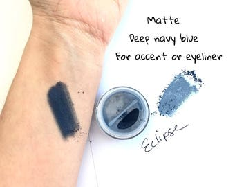 Eclipse Navy Blue Eye Shadow - Mineral Eye Shadow Natural Matte Eye Makeup Color- Matte blue eye shadow