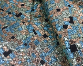"Vintage Metallic Blue and Black Brocade Fabric 54"" Wide x 40""- metallic fabric,evening fabric, costume fabric,brocade fabric"