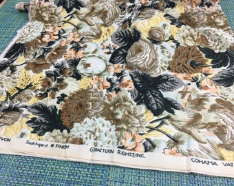 "Vintage Cohama Devon Cotton Brown and Black Cabbage Rose Print Upholstery Fabric with Scotchgard 54"" w PRICE PER YARD- cabbage rose fabric"