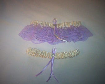 Ivory Cream Satin / Lavender Lace - 2 Piece Wedding Garter Set - 1 To Keep / 1 To Throw