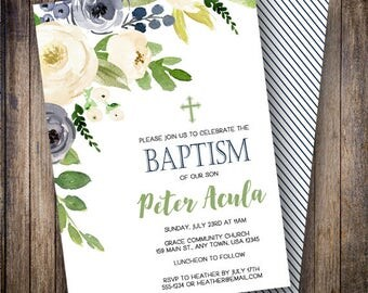 Boy Baptism Invitation, Navy Baptism Invite, Gender Neutral Baptism, Greenery, Watercolor Baptism Template, Green, Navy, 711