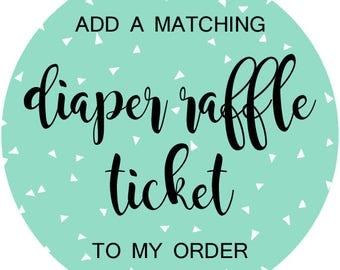 Matching Diaper Raffle Ticket Design, Diaper Raffle Tickets, Raffle Ticket Insert Cards, Printable, DIY, Made-to-Match