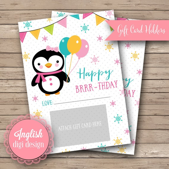 Printable 5x7 Birthday Gift Card Holders Girlie Penguin