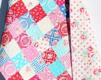 Baby Girl Quilt, Flower Sugar, Patchwork Blanket, Nursery Decor, Crib Cot Bedding, Blue Aqua Pink Red, Shabby Chic, Cottage Nursery