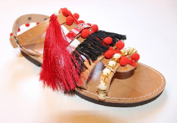 Boho Sandals/Leather Gladiator Sandals, women's gladiators, red boho sandals