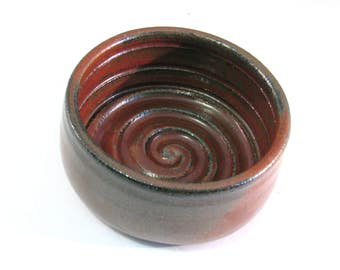 Red Shave Mug - Man's Shaving Bowl - Rust Red  - Handmade Pottery - Lather Bowl - Comfort Shave - Ridges for Good Soap Lather - Pottersong
