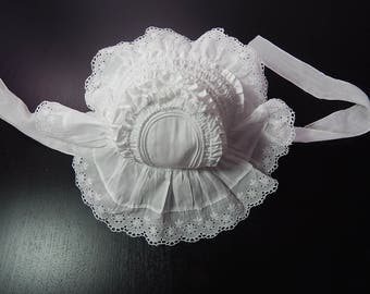Vintage French Handmade Baby or Toddler Bonnet  Embroidered