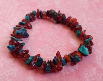 Dark Amber and Turquoise Gemstone Chip Stretch Bracelet