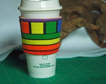 Rainbow Rows and Boxes - Coffee Sleeve #6