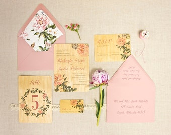 Real Wood Wedding Invitations - Garden Bella