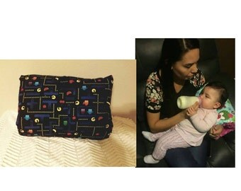 Baby feeding/breastfeeding pillow in Pac Man design with black minky