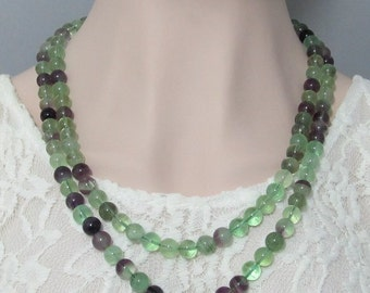 Fluorite 10mm and 925 Silver 47 inch long necklace